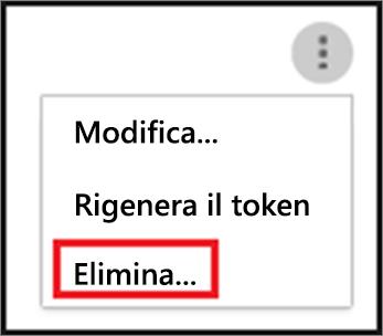 Per eliminare un agente SIEM, scegliere i puntini di sospensione e quindi Elimina.