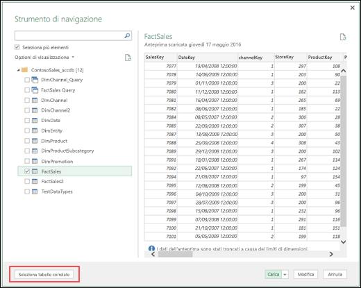 Power Query - Connettore a database di Access migliorato con l'aggiunta del nuovo pulsante Seleziona tabelle correlate nella finestra di dialogo Strumenti di navigazione