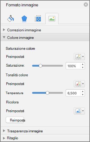 Modificare le impostazioni di saturazione del colore nel riquadro formato immagine