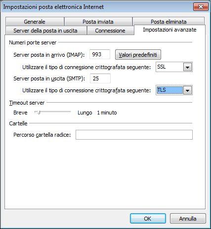 Impostazioni SSL e TLS di Outlook 2010