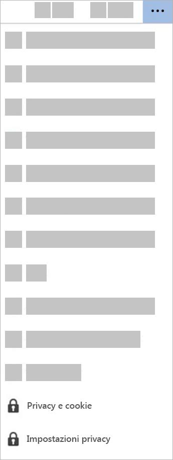 Screenshot del pulsante Impostazioni di privacy