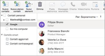Elenco di contatti con i contatti di Google