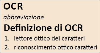 Panoramica di OCR
