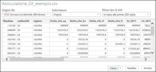 Miglioramento della finestra di dialogo dei connettori per i formati di testo e CSV in Power BI per Excel