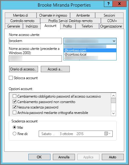Aggiungere un nuovo suffisso UPN per un utente