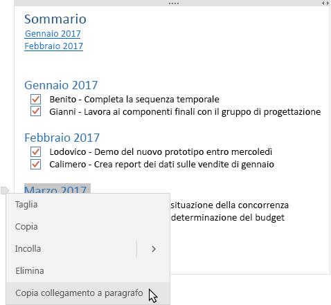 Mostra la nota con il sommario e un menu contestuale con un collegamento da copiare.