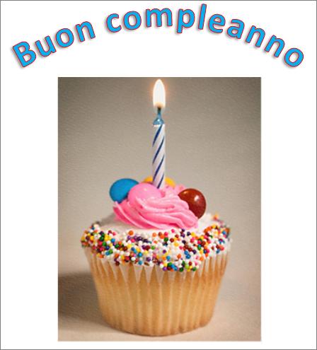 Esempio di WordArt con le parole Buon compleanno e un'immagine
