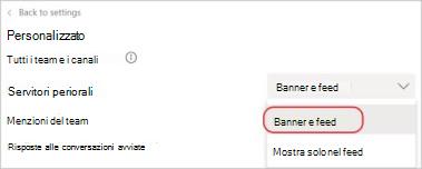 Screenshot delle impostazioni di notifica di teams. Un contorno rosso circonda l'impostazione banner e feed