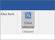 Screenshot di una sezione della barra multifunzione di Office con il comando Cerca citazione evidenziato nel componente aggiuntivo Citazioni.