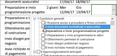 Piano di progetto con un elenco a discesa di attività