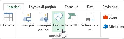 Pulsante Inserisci forme di Excel