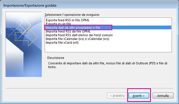 Scegliere di importare la posta elettronica da un altro programma o file