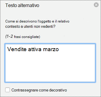 Riquadro di testo alternativo per i grafici in PPT per Mac in Office 365.