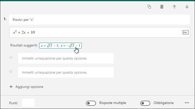 Risultati suggeriti per una formula matematica