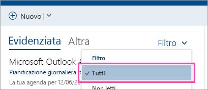 Screenshot del pulsante Filtra con Tutto selezionato
