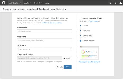 Schermata mostra la pagina di report Crea nuova snapshot produttività App ricerca nella sezione produttività app individuazione di sicurezza di Office 365 e centro conformità.