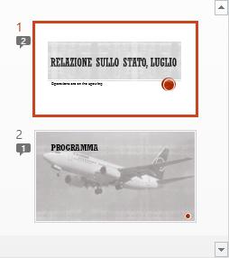 I simboli con numeri indicano la presenza di commenti sulle diapositive