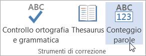 Fare clic su Conteggio parole nella scheda revisione