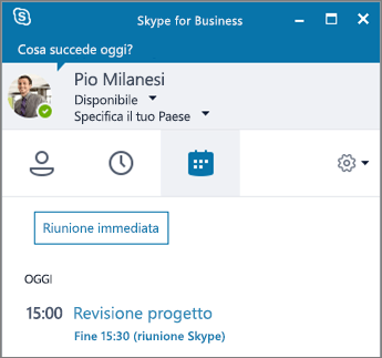 Screenshot della scheda Riunioni della finestra di Skype for Business.