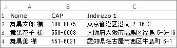 Elenco di indirizzi con indirizzi giapponesi validi