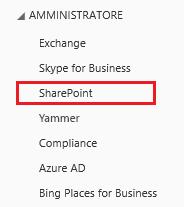 Screenshot delle opzioni di Amministratore di SharePoint