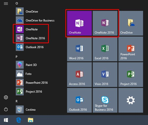 Screenshot del menu Start di Windows con OneNote e OneNote 2016.