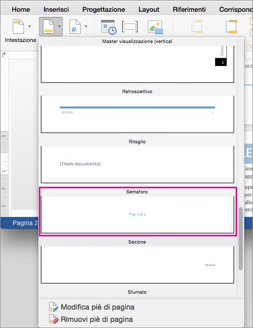"""Nella raccolta di stili di piè di pagina, fare clic su Semaforo per aggiungere lo stile """"Pagina X di Y""""."""