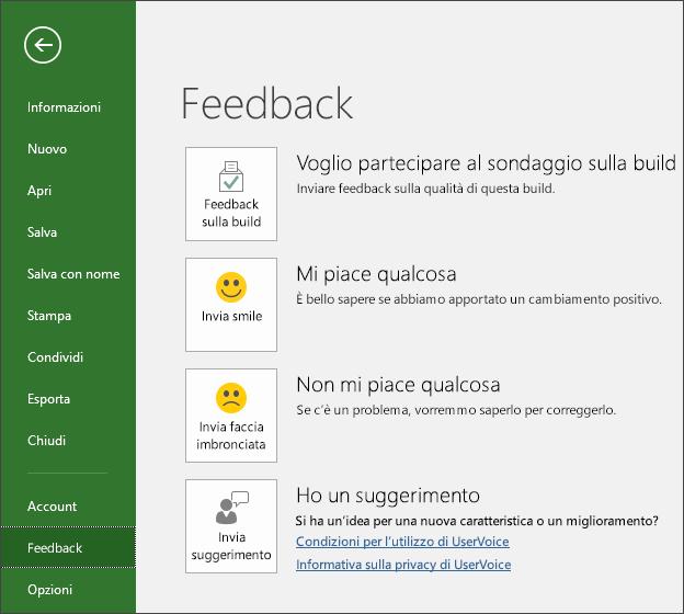 Fare clic su File > Feedback per fornire commenti o suggerimenti su Microsoft Project