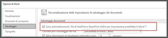 Finestra di dialogo File > Opzioni > Salva con la casella di controllo per abilitare o disabilitare il salvataggio automatico