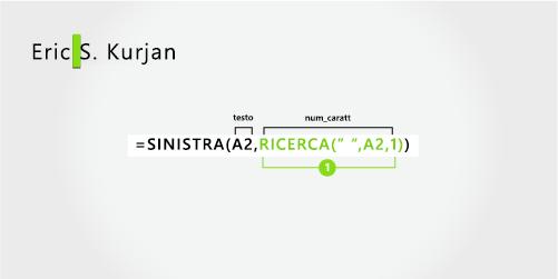 Formula per separare un nome e un cognome, più l'iniziale centrale