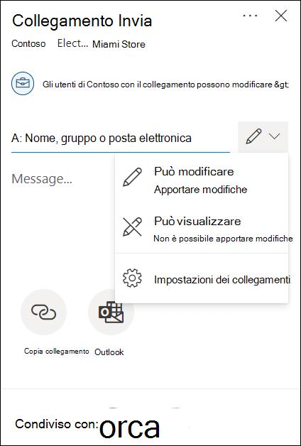 Opzioni di autorizzazione di condivisione di OneDrive con opzioni di modifica o solo visualizzazione.
