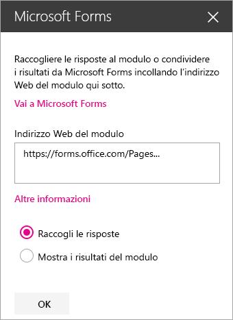 Riquadro della web part Microsoft Forms per un modulo esistente.