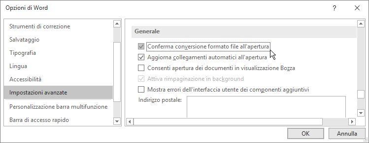 Opzione Conferma conversione formato file all'apertura