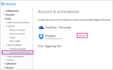 Per rimuovere un account di archiviazione, passare a Opzioni > Posta > Account di archiviazione