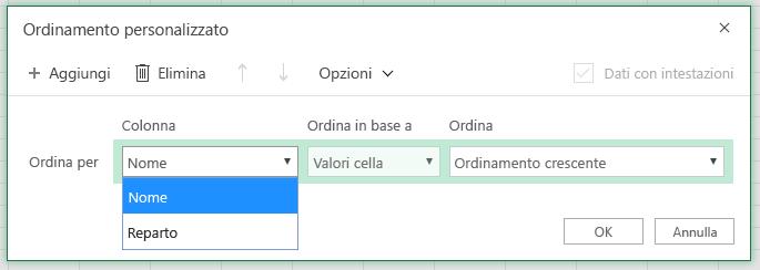 """Finestra di dialogo ordinamento personalizzato con la colonna Ordina per riga selezionata nella colonna """"Nome"""""""