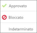 Icone delle autorizzazioni dell'app dopo essere state consentite, bloccate o quando nessuna azione è stata eseguita da un amministratore