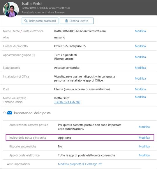 Lo screenshot mostra la pagina del profilo utente per Isotta Pinto con l'opzione di inoltro dei messaggi di posta elettronica impostata su Applicato e un'opzione di modifica disponibile.