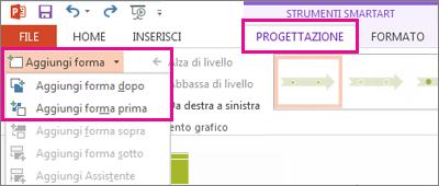 Nella scheda Progettazione fare clic su Aggiungi forma.