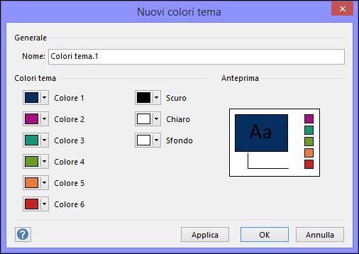 Screenshot della finestra di dialogo Crea nuovi colori tema in Visio