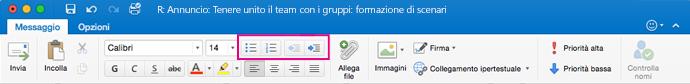 Pulsanti relativi agli elenchi sulla barra multifunzione di Outlook