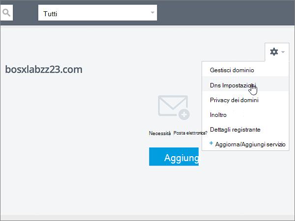 Selezione di DNS Settings nell'elenco