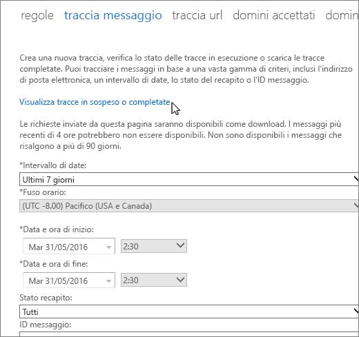 """Screenshot dello strumento Traccia messaggio con il cursore che passa sul collegamento """"Visualizza tracce in sospeso o completate""""."""