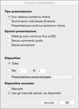 Impostare la visualizzazione del tipo e di altre opzioni prima di distribuire la presentazione