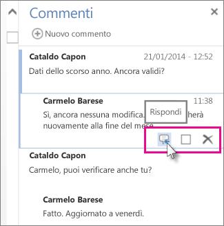 Immagine del comando Rispondi sotto il commento nel riquadro Commenti in Word Web App.