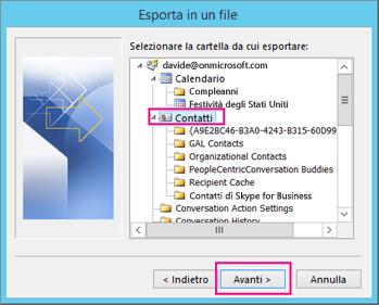 Scegliere i contatti da esportare