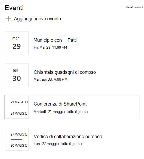 Input della web part eventi di esempio per il sito hub moderno in SharePoint Online