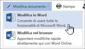 Documento di Word aperto da una raccolta di SharePoint con il comando Modifica in Word evidenziato