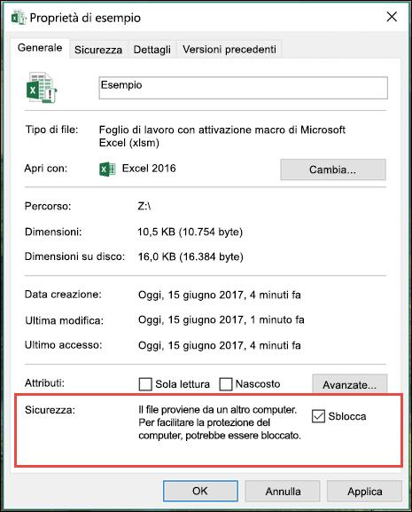 Fare clic con il pulsante destro del mouse sul file in Esplora risorse per sbloccare le macro.
