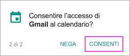 Consentire l'accesso al calendario
