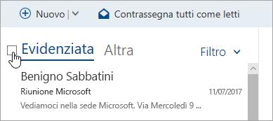 Schermata della casella di controllo sopra l'elenco dei messaggi
